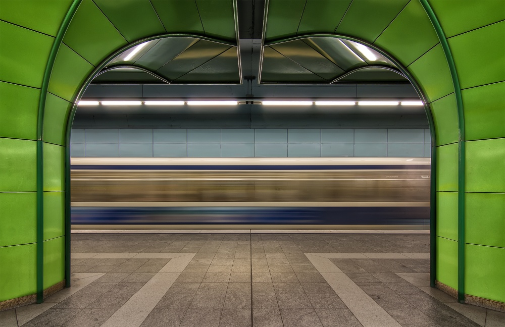 A piece of fine art art photography titled Munich Subway In Green II by dariosastre