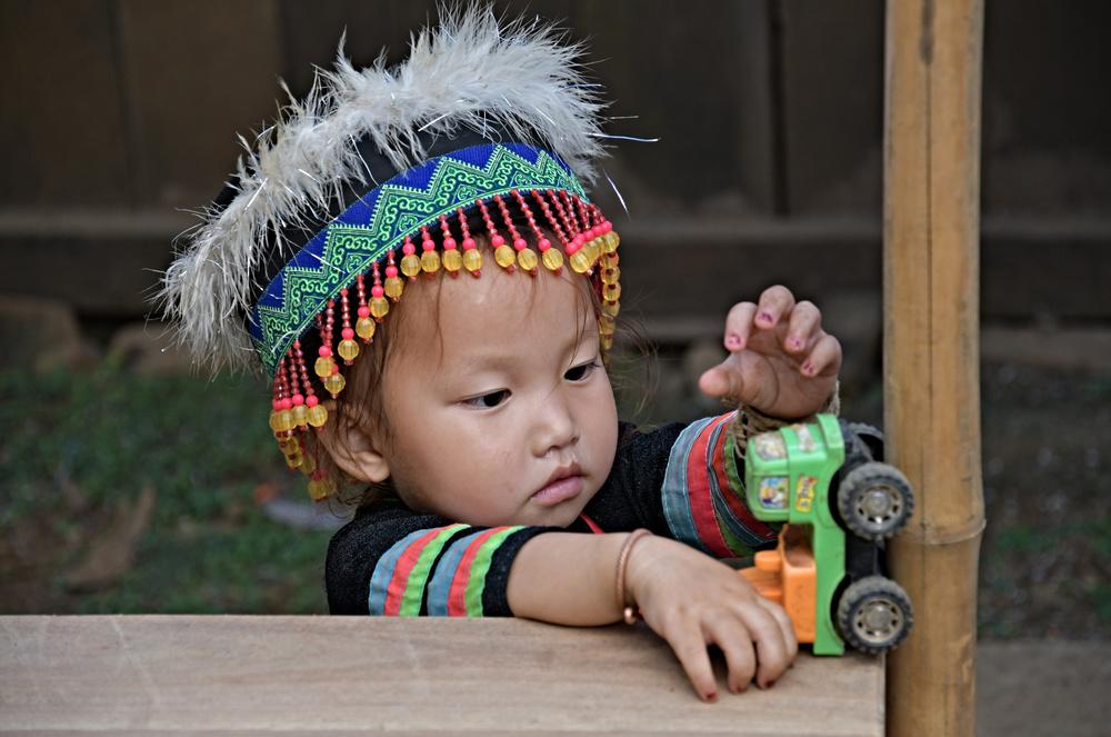 A piece of fine art art photography titled Little Hmong Girl Laos by michel fournol