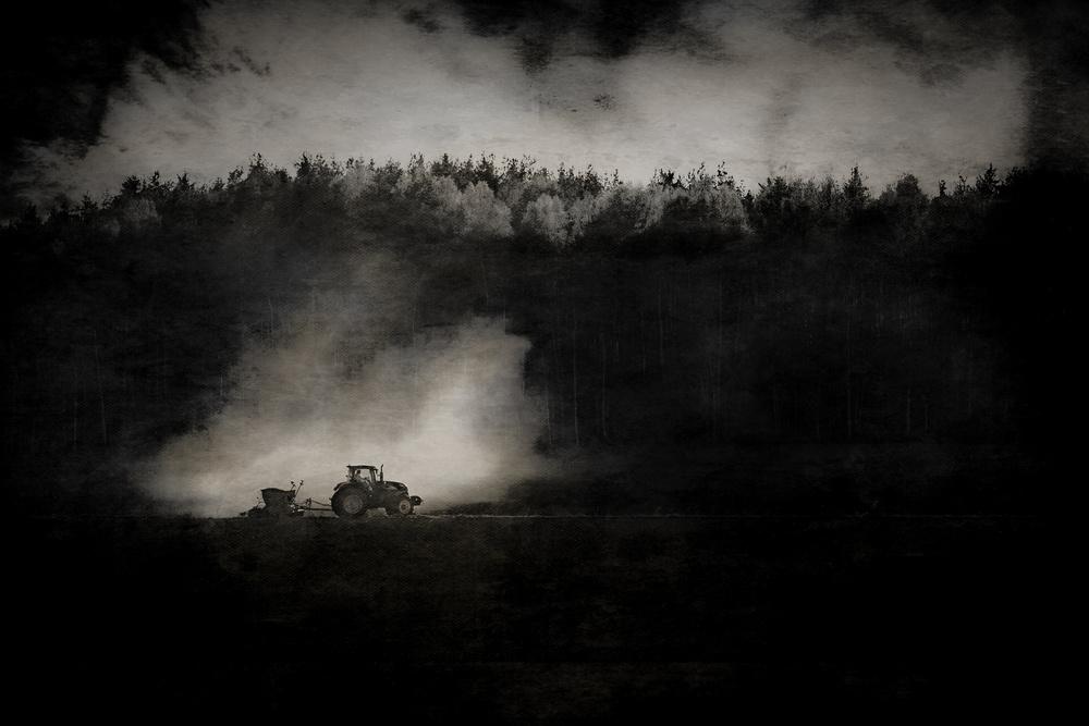 A piece of fine art art photography titled Dusty Work On the Farm by Åsmund Kværnstrøm