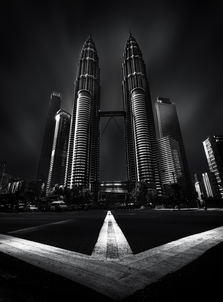 View this piece of fine art photography titled Petronas Twin Towers In Black And White by Frank Vandersmissen
