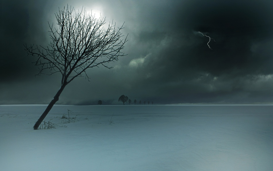 A piece of fine art art photography titled Wintergewitter by Nicolas Schumacher