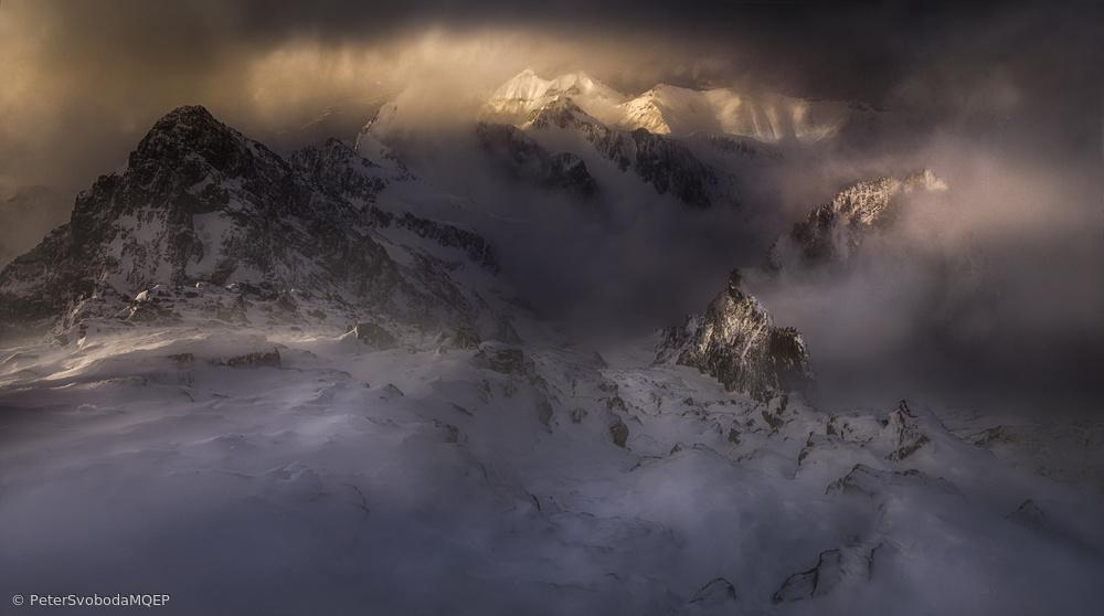 Breaking light through the blizzard