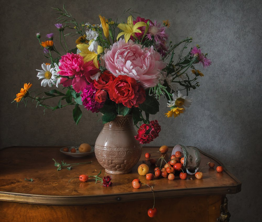 View this piece of fine art photography titled Flowers and cherries by Brig Barkow