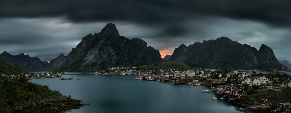 A piece of fine art art photography titled First Night In Reine by Pawel Kucharski