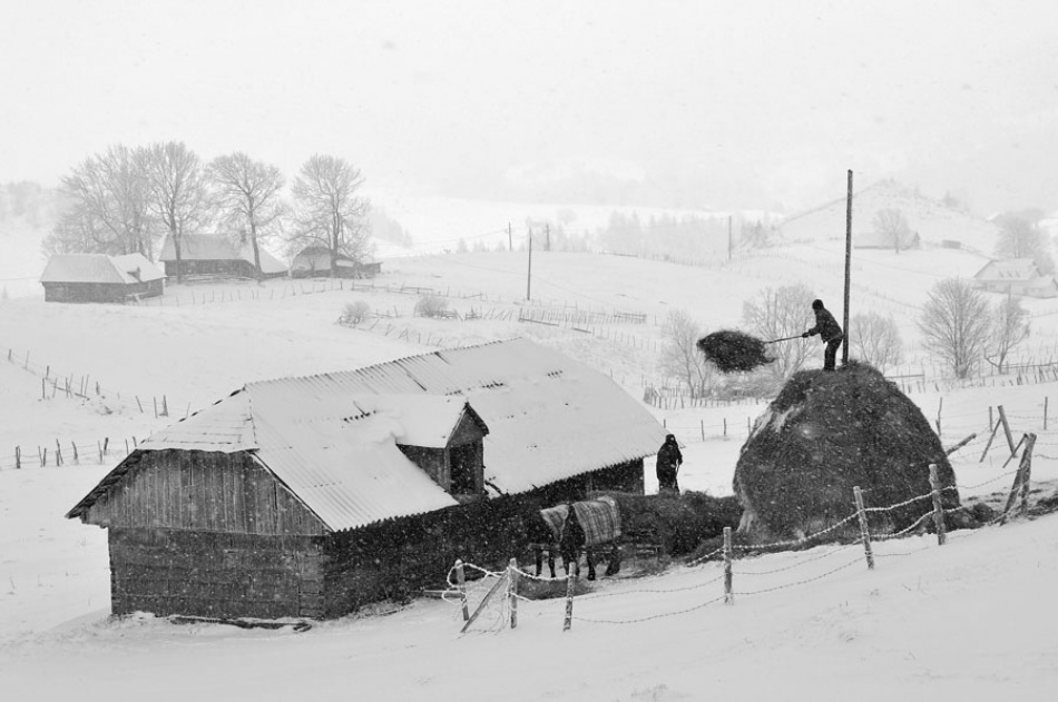 A piece of fine art art photography titled Cand a Nins (when It Snowed) by Vlad Dumitrescu