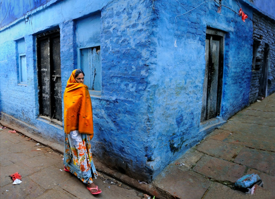 A piece of fine art art photography titled Orange Wife and Blue House by JALLAIS DIDIER