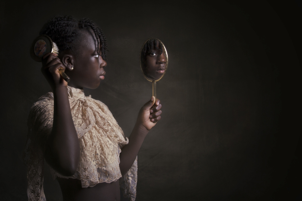 A piece of fine art art photography titled Mirror Mirror In My Hand by Carola Kayen-Mouthaan