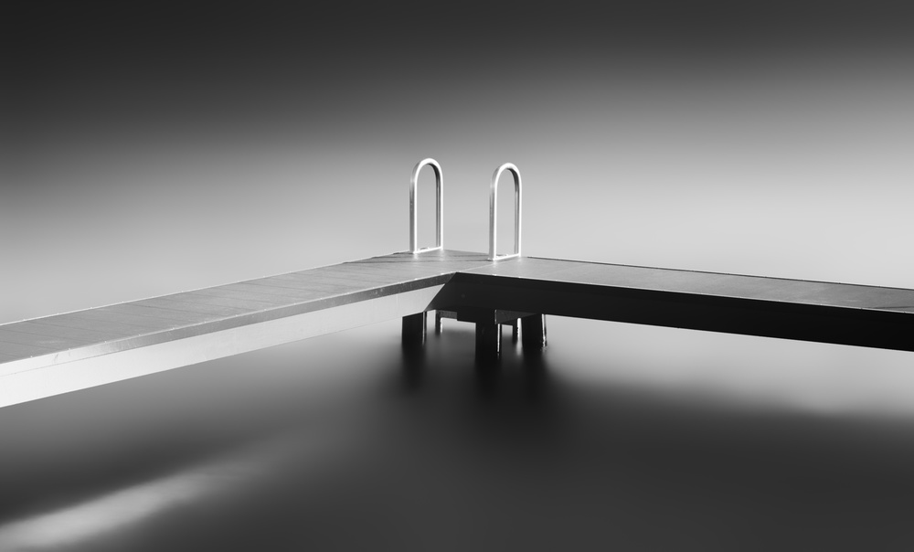A piece of fine art art photography titled Study of a Bathing Jetty III Triptych by Frank Peters