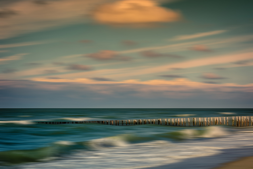A piece of fine art art photography titled Waves Rolin' In by Bernardine de Laat