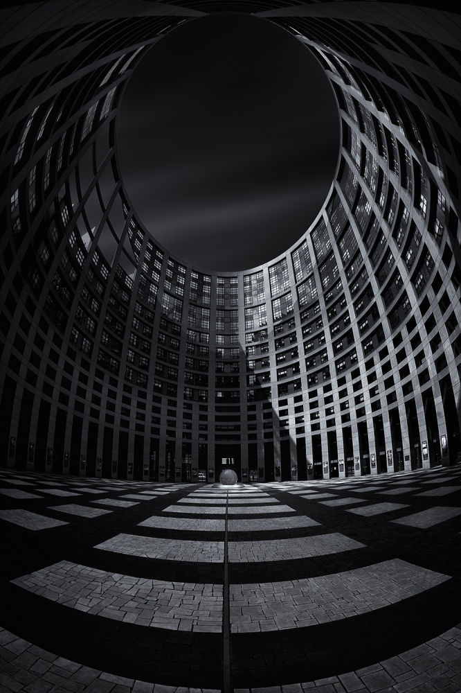 A piece of fine art art photography titled European Parliament @ 15mm by Bildwerker Freiburg