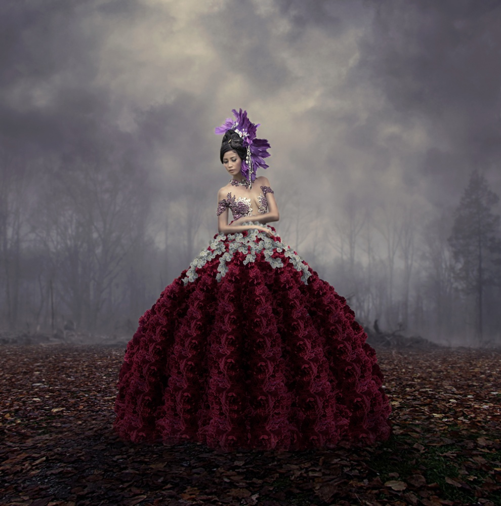 A piece of fine art art photography titled The Queen of Flowers by hukma art