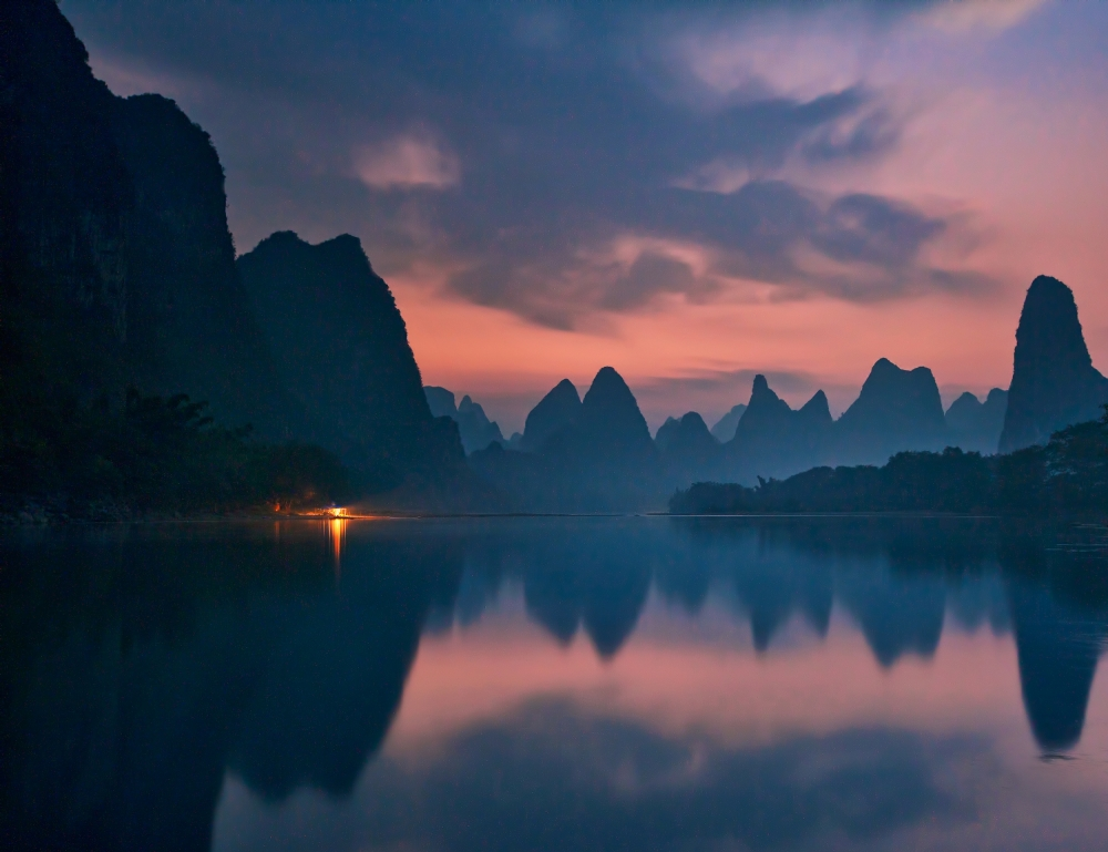 A piece of fine art art photography titled The Dawn of Li River by Yan Zhang