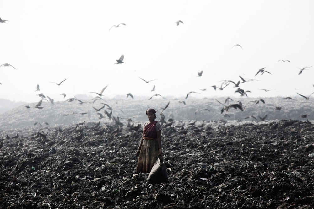 A piece of fine art art photography titled Woman from the Plastic Village Dhaka, Bangladesh 2013 by Stefano Stranges