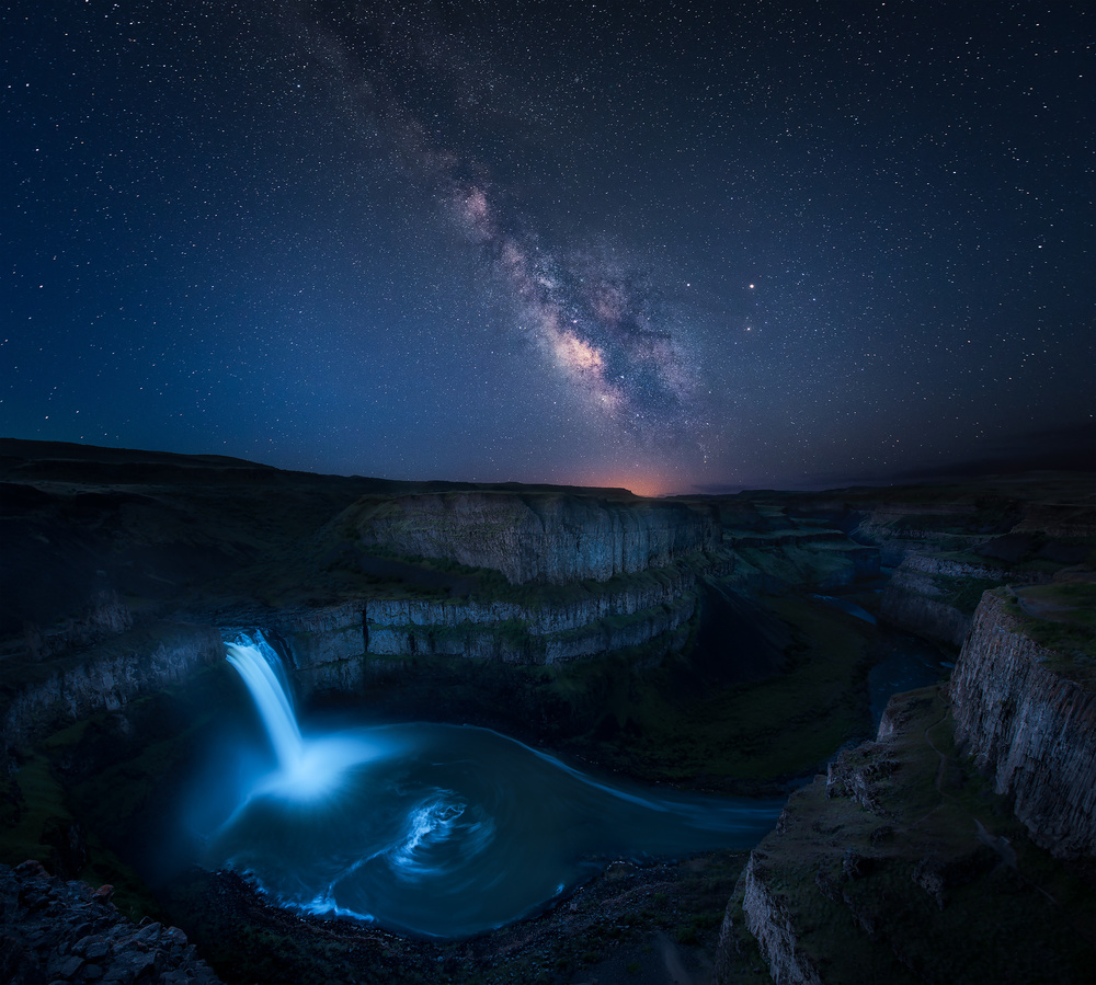A piece of fine art art photography titled Palouse Waterfall and the Milky Way by JIE CHEN