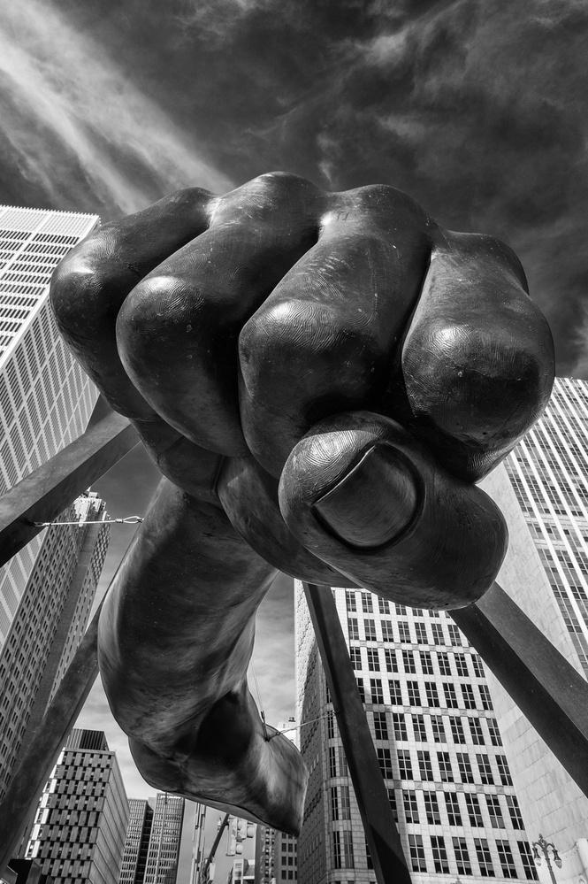 A piece of fine art art photography titled Dee-troit Power by Tom Egel