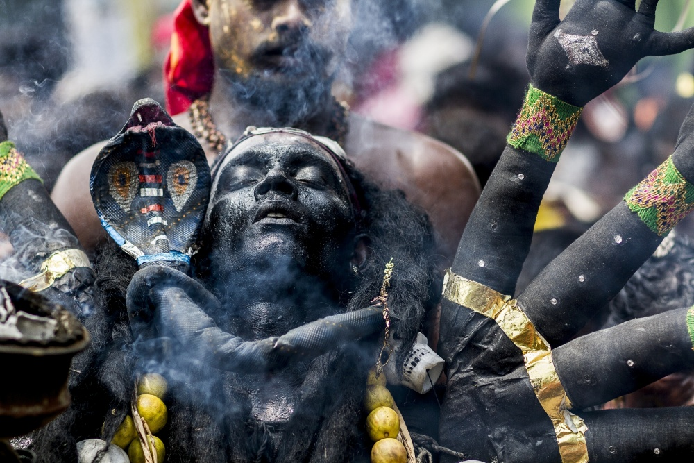A piece of fine art art photography titled Black Kaali by Elangovan Subramanian