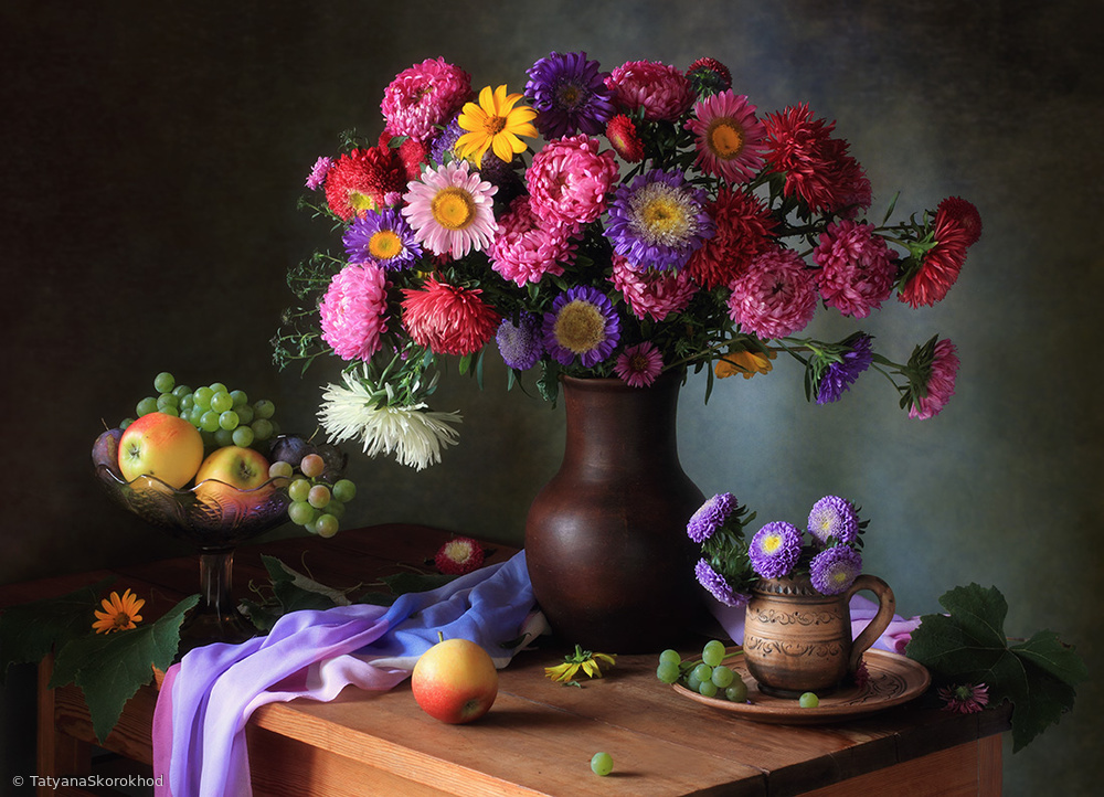 View this piece of fine art photography titled Still life with a bouquet of asters and fruits by Tatyana Skorokhod (Татьяна Скороход)