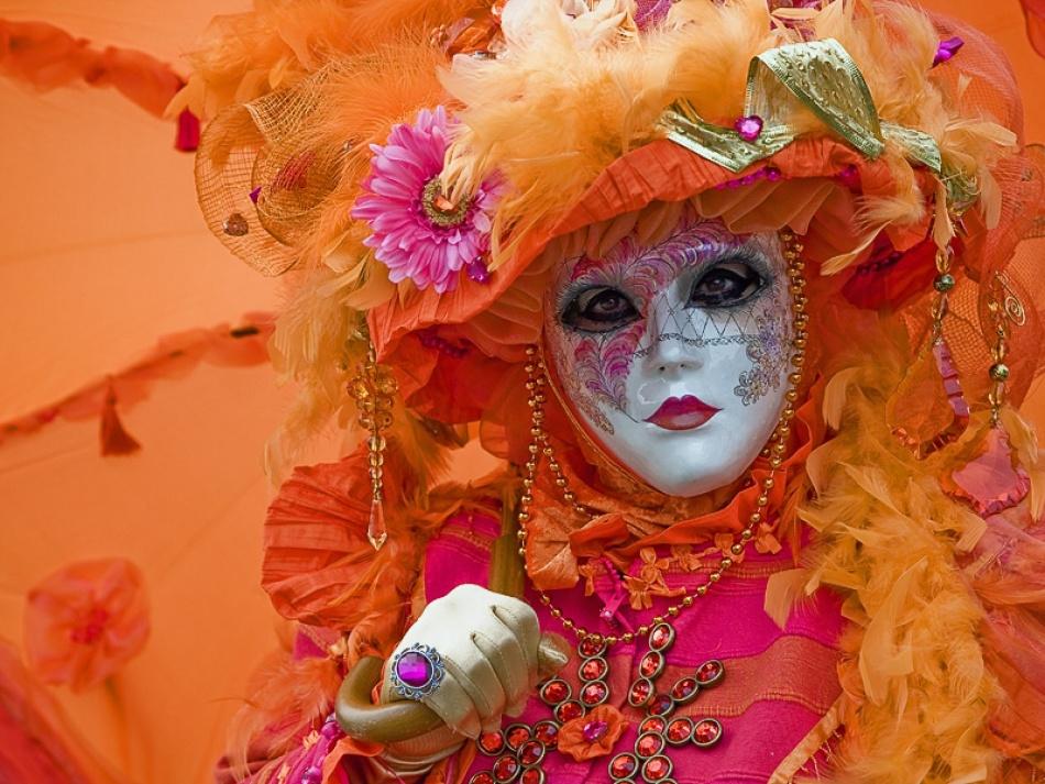 A piece of fine art art photography titled Carnival In Orange by Stefan Nielsen