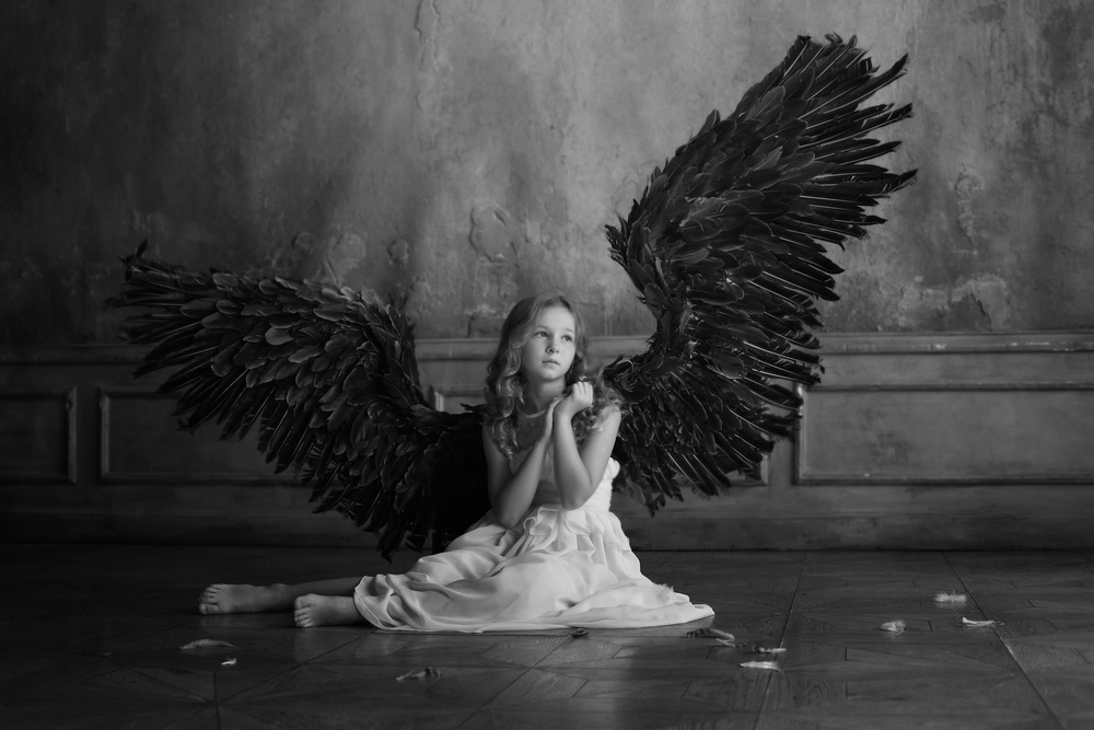 A piece of fine art art photography titled The Crying Angel by Victoria Ivanova