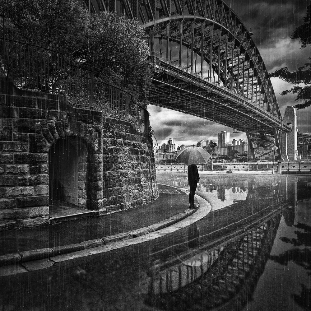 A piece of fine art art photography titled Sous Le Pont by Adrian Donoghue