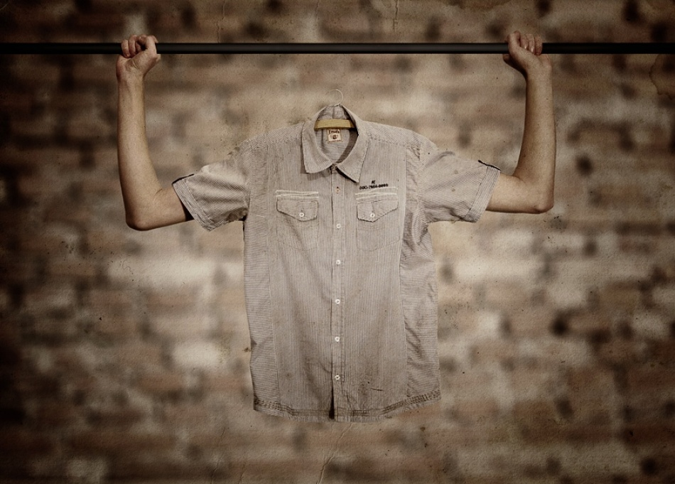 A piece of fine art art photography titled Human Clothes Hanger by Peter Cakovsky