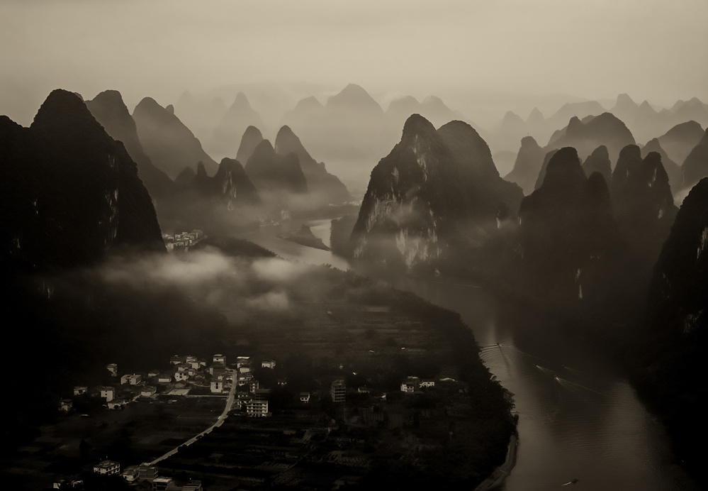 A piece of fine art art photography titled Guilin, Morning by Yu Cheng