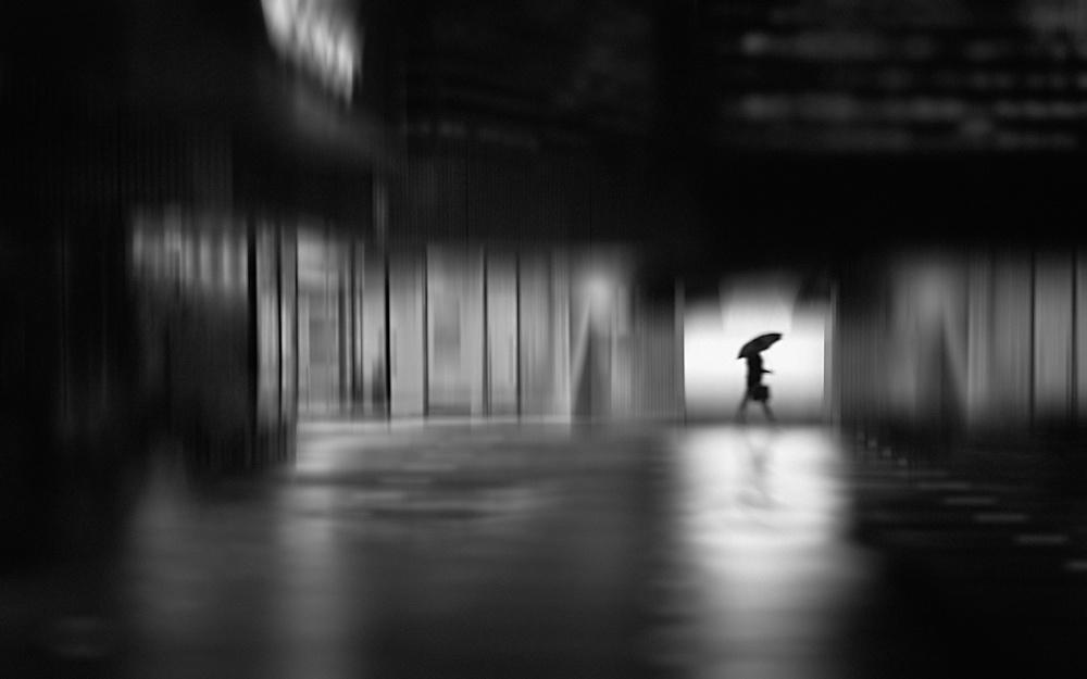 A piece of fine art art photography titled Rainy Night Street by Teruhiko Tsuchida