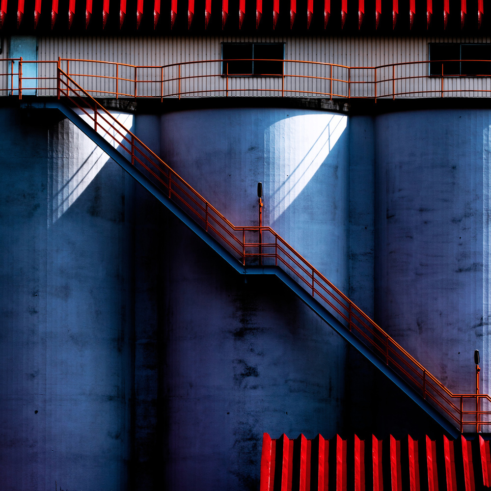 A piece of fine art art photography titled Red Diagonal Line by Tetsuya Hashimoto