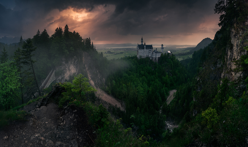 A piece of fine art art photography titled Neuschwanstein Castle by Karol Nienartowicz