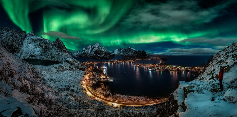 A piece of fine art art photography titled Chasing the Northern Lights by Javier de la Torre