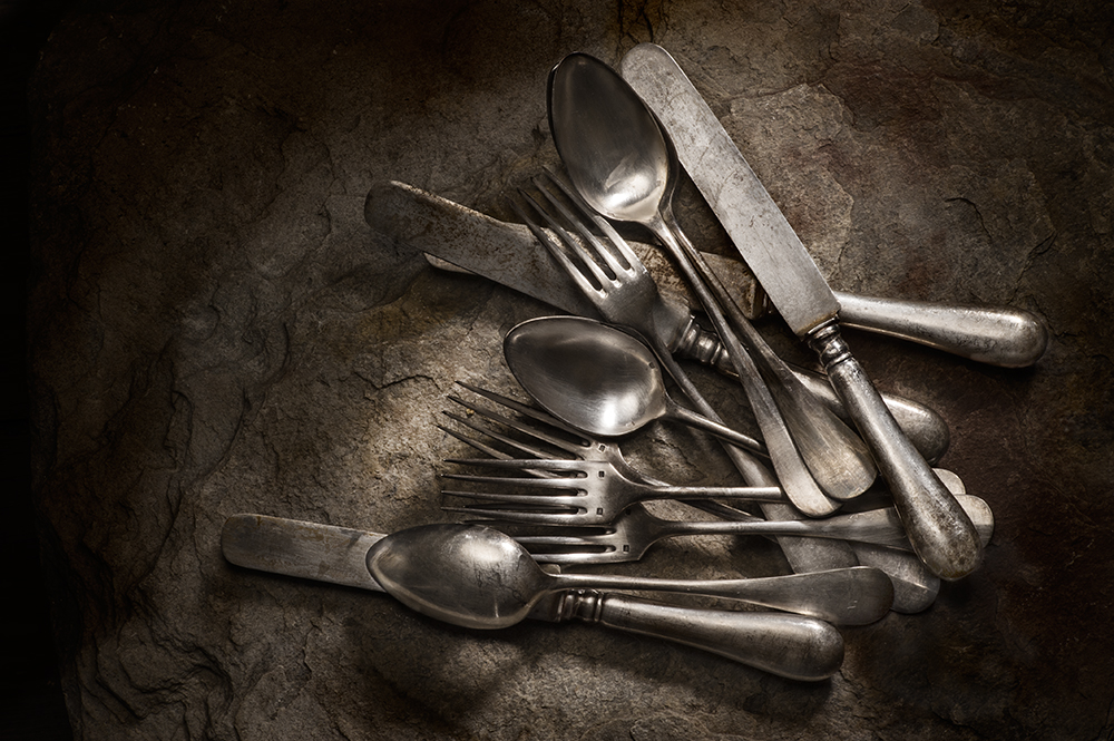 A piece of fine art art photography titled Old Silver Cutlery by Mystic Light (Piga&Catalano)