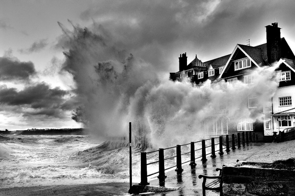 A piece of fine art art photography titled Big Wave - Storm at Sandsend by Keith Foster