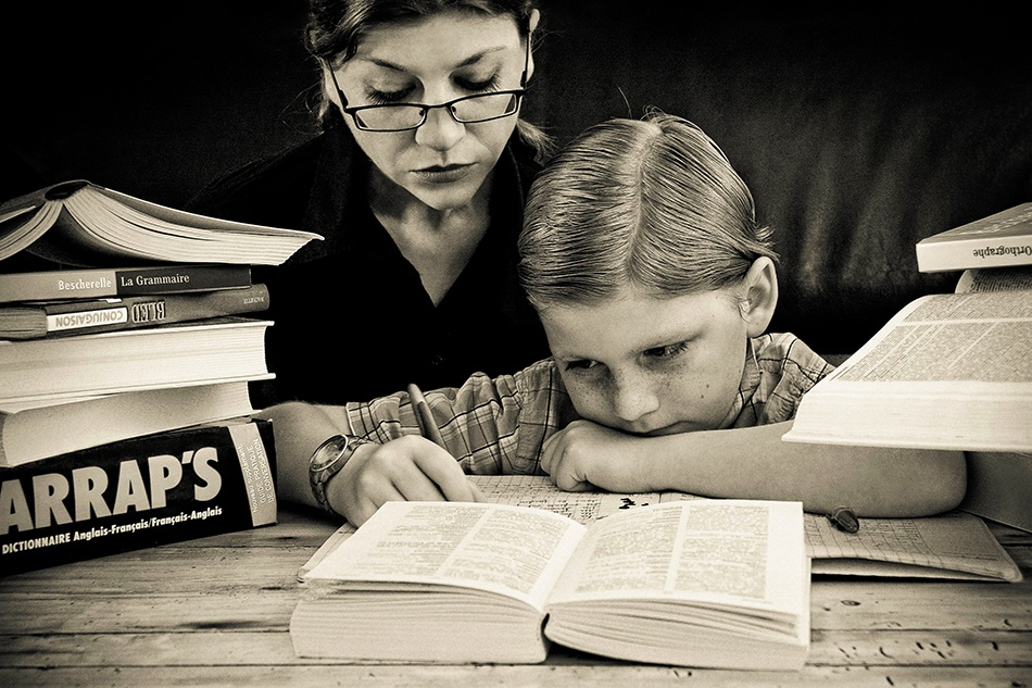 A piece of fine art art photography titled My Son Is the Best Pupil by Cath Schneider