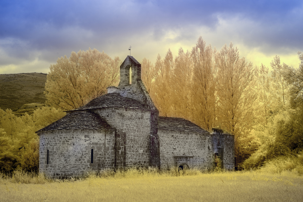 A piece of fine art art photography titled Lete Church (infrared) by Martin Zalba