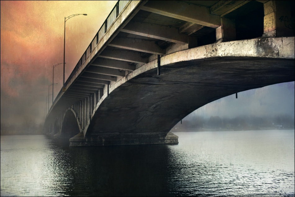 A piece of fine art art photography titled Bridge In Fog by Roumi