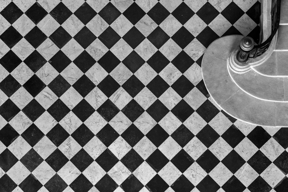 A piece of fine art art photography titled Chessboard Staircase by Jean-Louis VIRETTI