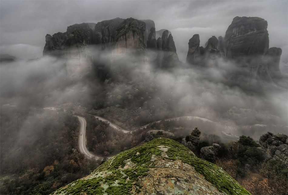 A piece of fine art art photography titled The Fogs of Meteora by Philip Peynerdjiev - Testmaniac