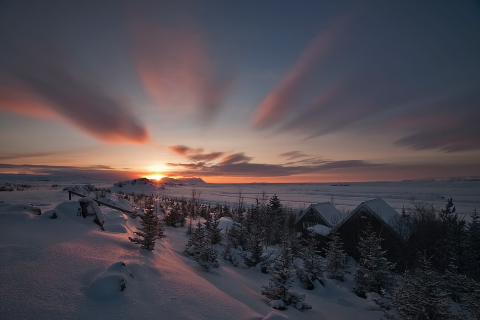 A piece of fine art art photography titled Winter Sunset by Bragi Ingibergsson - BRIN