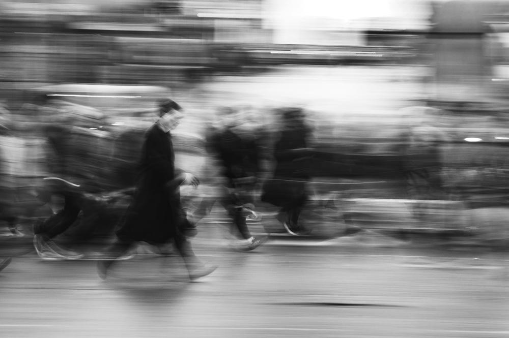 A piece of fine art art photography titled Pedestrians by Robert Beliczay
