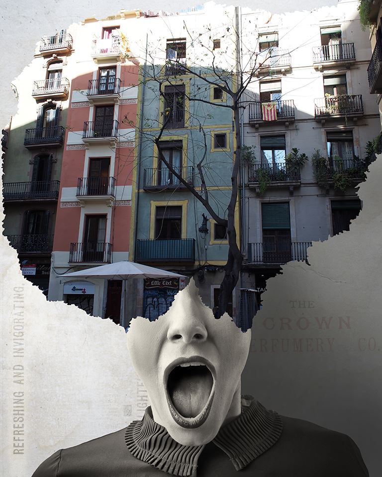 A piece of fine art art photography titled Where Is My Mind 038 Plaça De Sant Josep Oriol, Barrio Gótico, Barcelona - Spain by Aidan Sartin Conte
