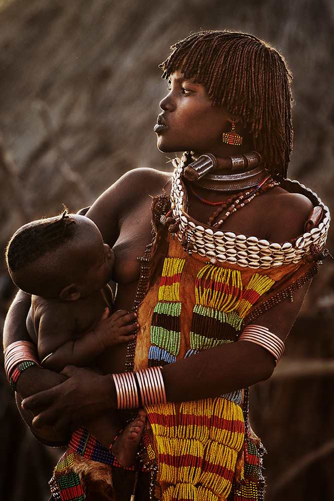 A piece of fine art art photography titled Hamar Tribe by Herman Morrison