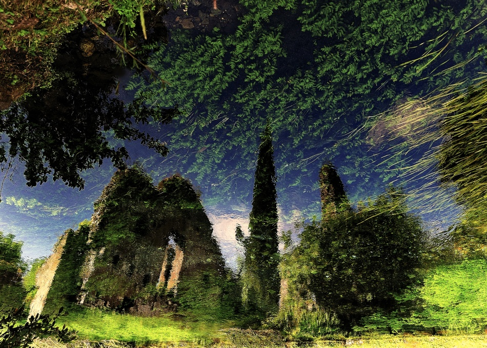 A piece of fine art art photography titled Reflected Ruins by Fulvio Pellegrini