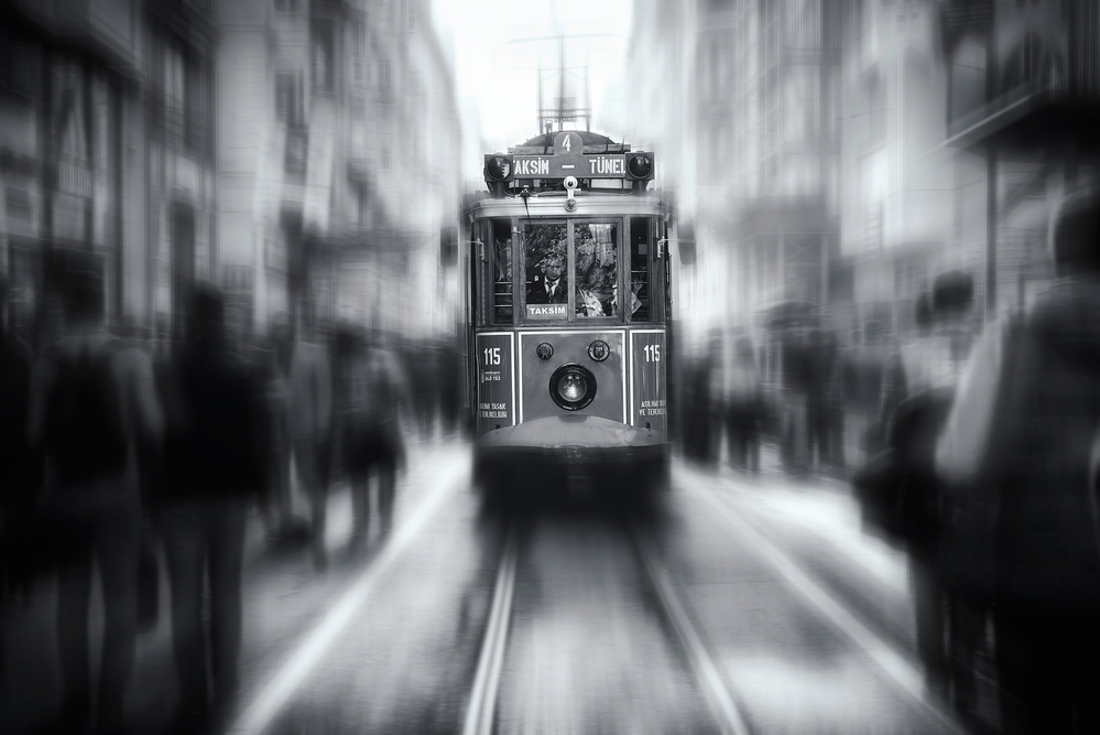 A piece of fine art art photography titled Taksim-Tunel by Yavuz Pancareken
