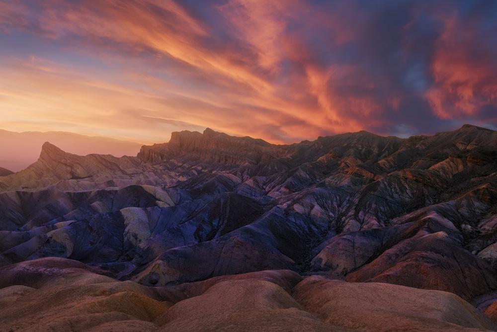 A piece of fine art art photography titled Zabriskie Sunset by Carlos F. Turienzo