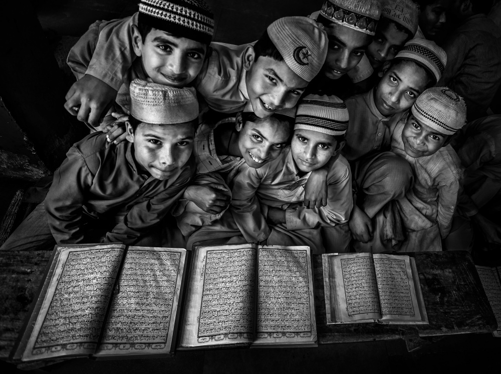 A piece of fine art art photography titled School Happiness by Fadhel Almutaghawi