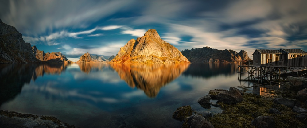 A piece of fine art art photography titled Golden Olstinden by Pawel Kucharski