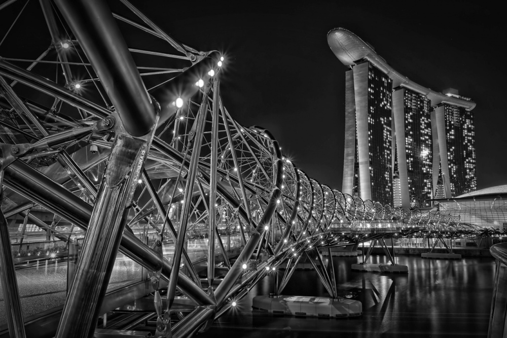 A piece of fine art art photography titled THe Helix Bridge by Vincent Sinaga