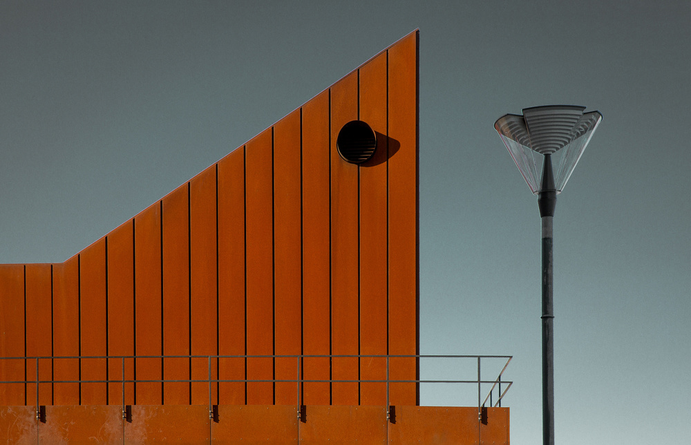 A piece of fine art art photography titled Composition With Lamp and Building by Inge Schuster