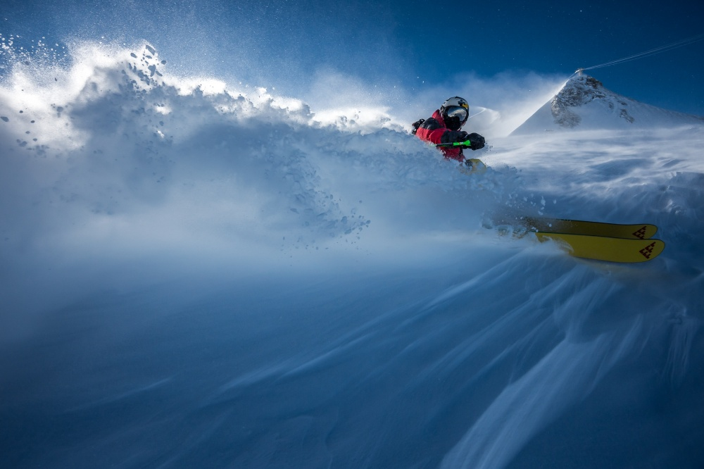 A piece of fine art art photography titled Spraying In the Wind With Charles Navillod by Tristan Shu