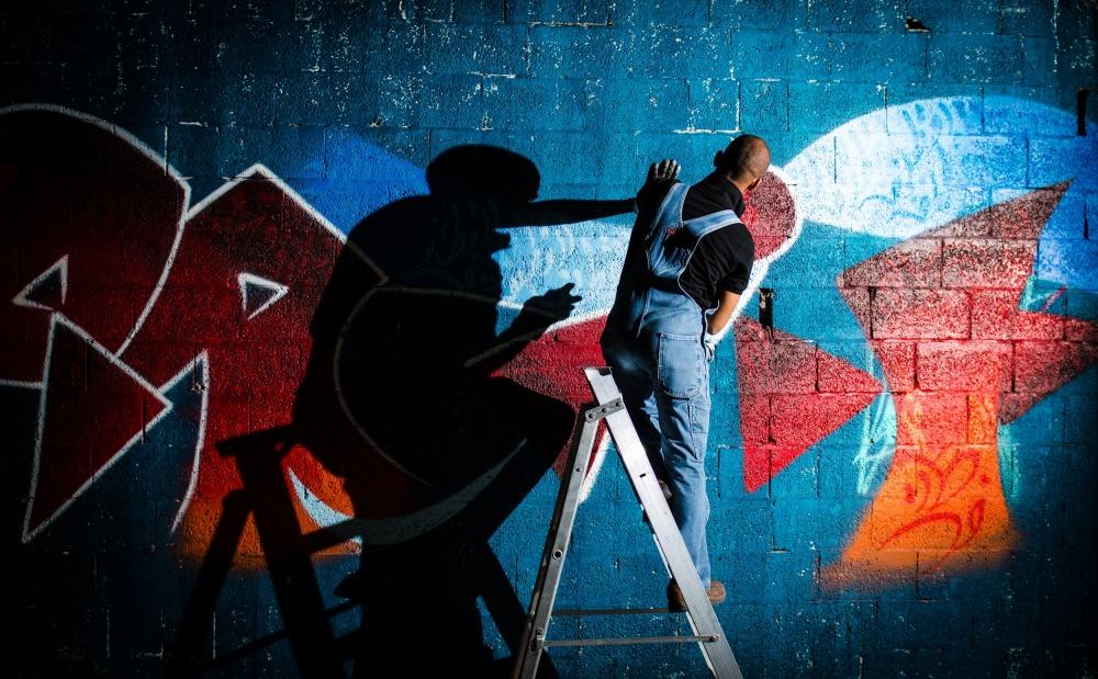 A piece of fine art art photography titled Graffiti Twin by Zaki Alzayer